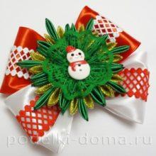 Канзаши к Новому году – оригинальные бантики-снежинки