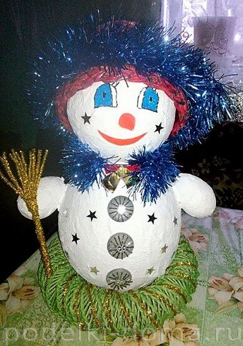 снеговик папье-маше 8