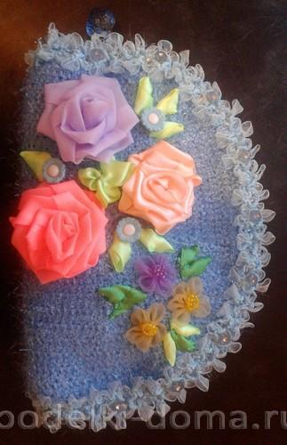косметичка вязаная цветы из лент
