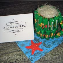 Подарки из конфет к 23 февраля: гиря, кружка, пушка и другие