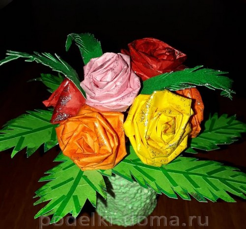 розы из бумаги