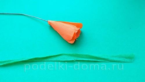 цветок лютик из гофробумаги 05