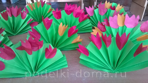 веер тюльпаны из бумаги
