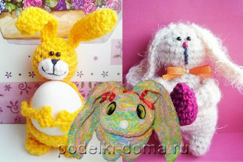 3 вязаных кролика