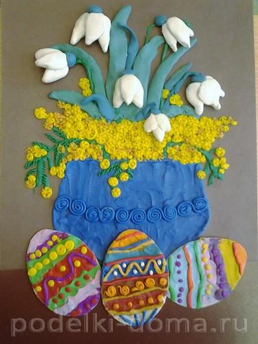 Писанки и букет первоцветов пластилинография