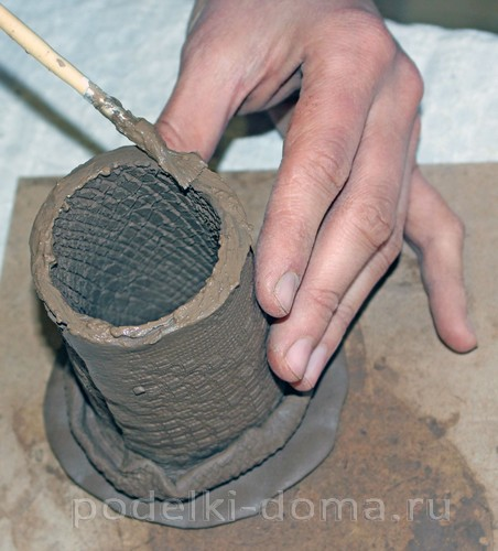 карандашница из глины 11