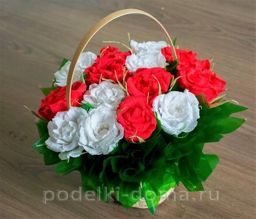 корзина роз из гофробумаги 47