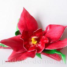 Орхидея из фоамирана (зажим на волосы)