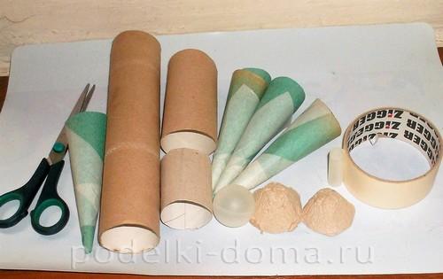бумажная ракета из бумаги и втулок 06