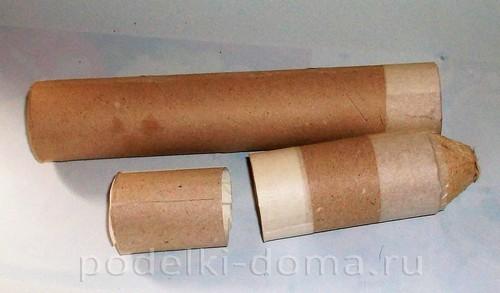 бумажная ракета из бумаги и втулок 08