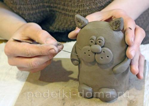 котенок  из глины 18