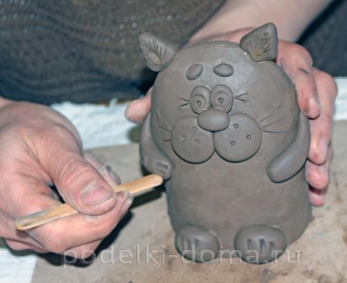 котенок  из глины 21
