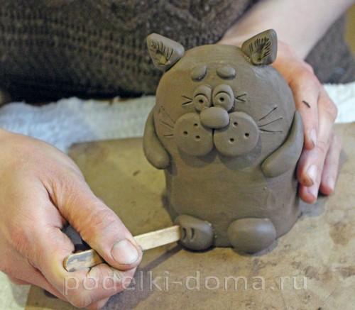 котенок  из глины 22