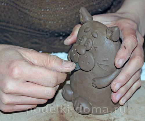 котенок  из глины 23