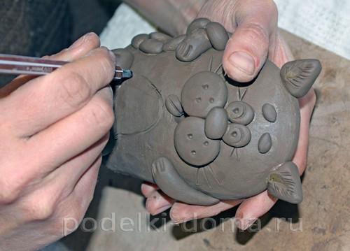 котенок  из глины 26
