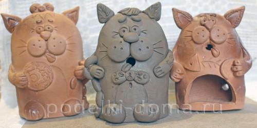 котенок  из глины 30