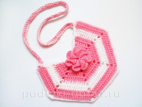 вязаная сумочка розовая 12