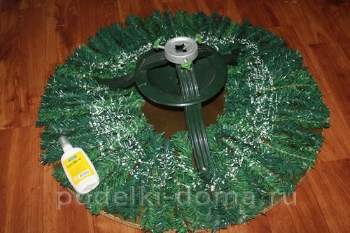 Украшение подставки под елку и новогодний сапожок