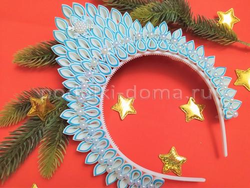Корона снежинки (диадема) из фоамирана на ободке