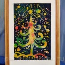 «Новогодняя елочка», горячий батик