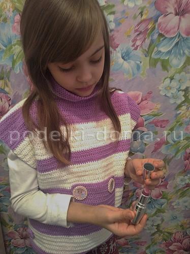Пончо для девочки, вязание крючком