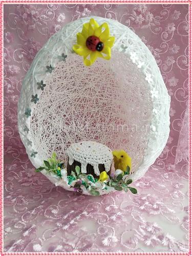 Пасхальное яйцо из ниток