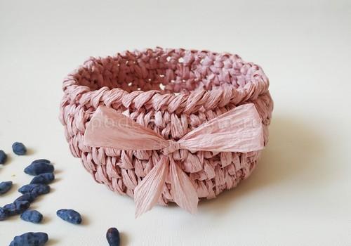 Козинка из рафии, вязание крючком