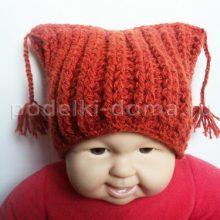 Вязаные детские шапочки с ушками