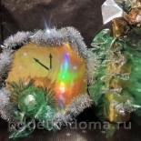 Украшение бутылки шампанского «Елка» и коробки конфет «Часы»