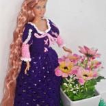 Платье Рапунцель для куклы Барби (вязание крючком)