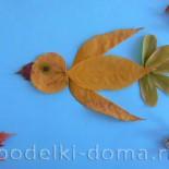 Аппликация из листьев «Осенняя птичка»