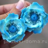 Серьги «Бирюзовые цветы»