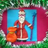 Новогодняя аппликация из пластилина «Дед Мороз», пошагово