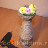 Декупаж бутылки «Украинский домик»