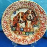 Новогодний декупаж: «Елка» и тарелка «Год Собаки»