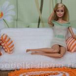 Диван для куклы (вязание крючком)