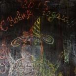 Картина «Барашки» в технике граттаж