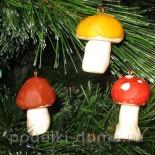 Елочные игрушки из холодного фарфора «Грибочки»