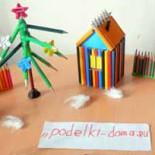 «Зимний дворик» из карандашей