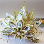 Новогодняя диадема канзаши для маленькой принцессы
