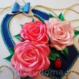 Корзина с розами из атласных лент (канзаши)