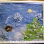 «Зимушка-зима». Рисование шерстью. Мастер-класс
