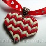 «Вязаное сердце» — кулон из полимерной глины