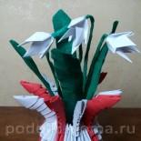 Ваза с подснежниками из бумаги (модульное оригами)