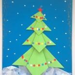 Новогодние открытки: энкаустика и объемная елочка