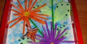 Панно «Летние цветы» из подручного материала