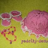 Шапочка и пинетки для новорожденной, вязаные крючком