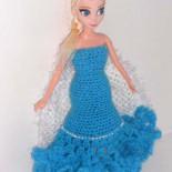 Платье для куклы Эльзы (вязание крючком)