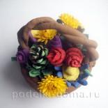 Поделка из глины «Корзина с цветами»