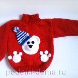 Детский свитер «Мишка», вязаный спицами
